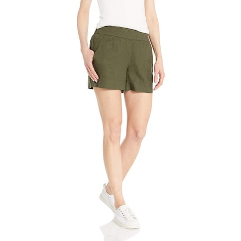 Brand - Daily Ritual Women's Linen Pull-On Short, Olive, 10