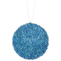 "3ct Turquoise Blue Sequin and Glitter Drenched Christmas Ball Ornaments 4.75"" (120mm)"