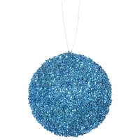 "4ct Turquoise Blue Sequin and Glitter Drenched Christmas Ball Ornaments 4"" (100mm)"