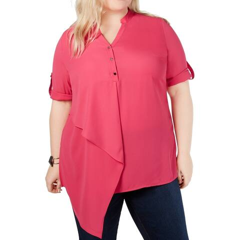NY Collection Womens Blouse Pink Size 2X Plus Asymmetrical V-Neck
