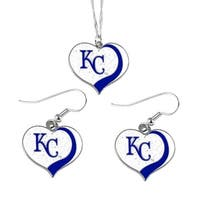 Kansas City Royals Mlb Sports Team Logo Charm Gift Glitter Heart Necklace And Earring Set