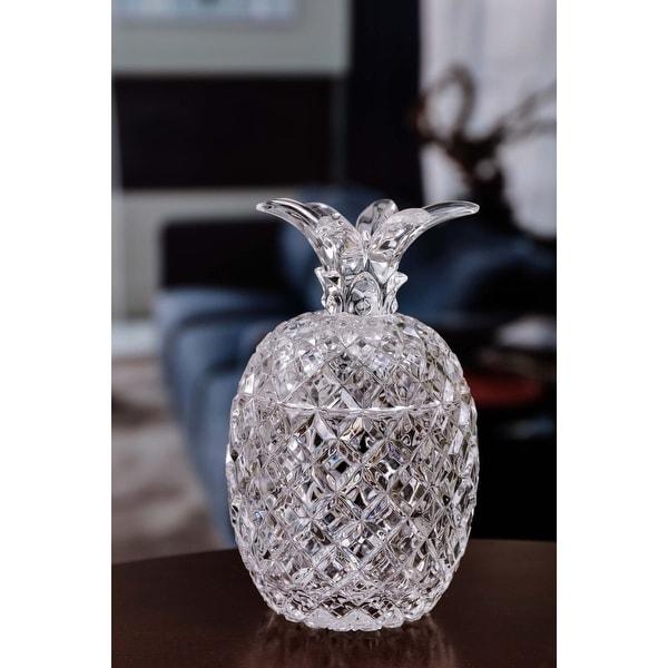 "Set of 4 Clear Diamond Cut Pineapple Jars 6"" - N/A"