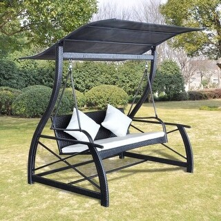 "vidaXL Garden Swing Chair Poly Rattan Black 65.7""x51.2""x70"""