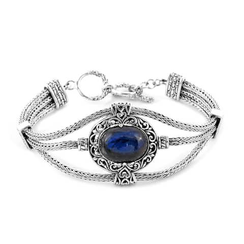 Shop LC BALI LEGACY 925 Sterling Silver Oval Kyanite Bracelet - Bracelet 7.25''