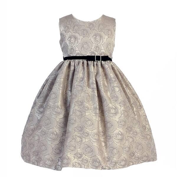 039093130c67 Shop Crayon Kids Little Girls Silver Floral Rose Pattern Flower Girl ...