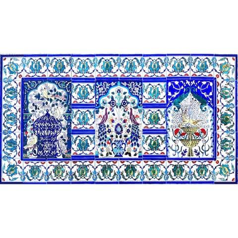 60in x 30in Arabesque Mosaic Design 50pc Tile Ceramic Wall Mural
