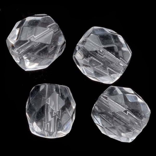 Acrylic Faceted Round Beads Clear 8mm (50)