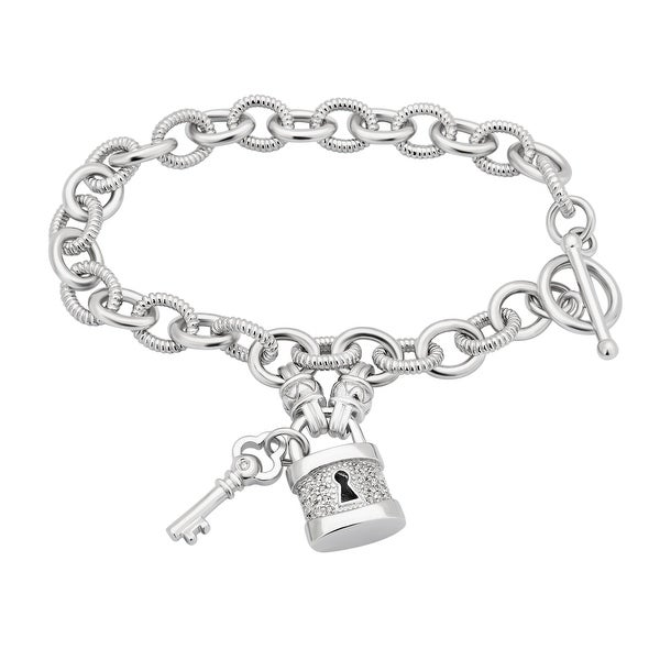 Divina Sterling Silver 1/6ct TDW Lock and Key Toggle Bracelet. Opens flyout.