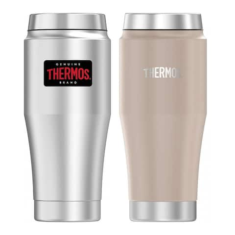 Thermos 16 Oz Steel Travel Tumbler 2PK - S/S and Matte Stone Gray - Stainless Steel - 16 Oz