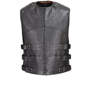 Crew Collar Leather Biker Vest w/ Extra Large Side Tabs & Mesh Lining MBV103