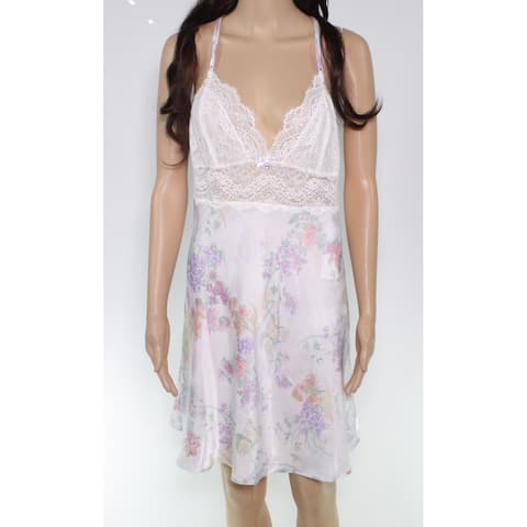 Linea Donatella Women's Sleepwear White Size Medium M Floral Lace Gown