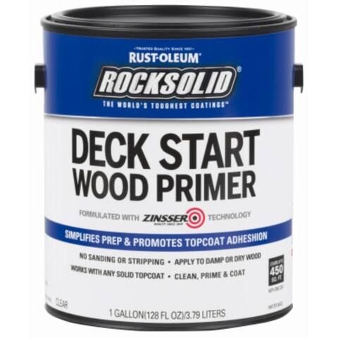 Rust-Oleum 312283 RockSolid Deck Start Wood Primer, Clear, 1 Gallon