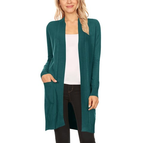 Women's Solid Long Sleeve Loose Fit Sweater Cardigan