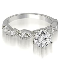 0.80 cttw. 14K White Gold Antique Style Round Cut Diamond Engagement Ring