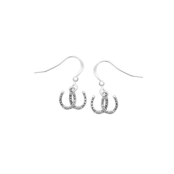 Kabana Horseshoe Drop Earrings in Sterling Silver - White