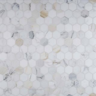 "MSI CALAGOLD-2HEX Calacatta Gold - 2"" x 2"" Hexagon Mosaic Wall Tile - - White"
