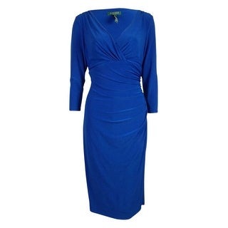 Ralph Lauren Women's 3/4 Sleeves Faux Wrap Jersey Dress