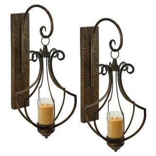 Aspire Home Accents 6908 Ribley Candle Wall Sconce (Set of 2) - Brown