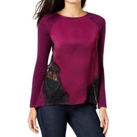 Two by Vince Camuto Womens Casual Top Lace Inset Mixed Media