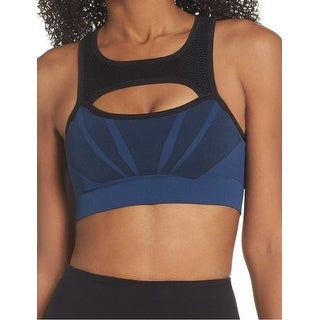 Zella Navy Blue Womens Size Medium M Cut-Out Jacquard Athletic Bra