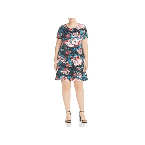 Love Ady Womens Plus Party Dress Floral Print Short Sleeves
