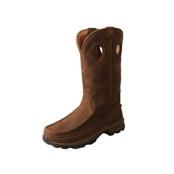 """Twisted X Outdoor Boots Womens Hiker 10"""" D Toe Leather Saddle - Distressed Saddle. Opens flyout."""