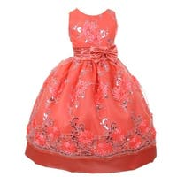 Little Girls Coral Floral Sequin Bow Adorned Flower Girl Dress