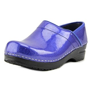 Sanita Signature Pearl Metallic Women  Round Toe Patent Leather Blue Clogs