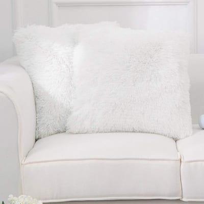 Cheer Collection Set of 2 Shaggy Long Hair Throw Pillows