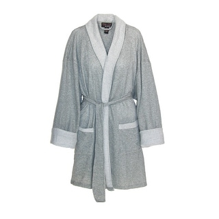 Aegean Women's Sweatshirt Knit Lightweight Bathrobe - heather gray - large extra large