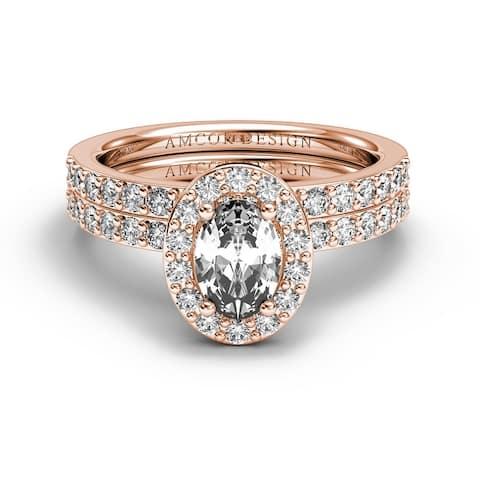 14KT Gold 1.25 CT Halo Diamond Engagement Ring Set Oval Wedding Band