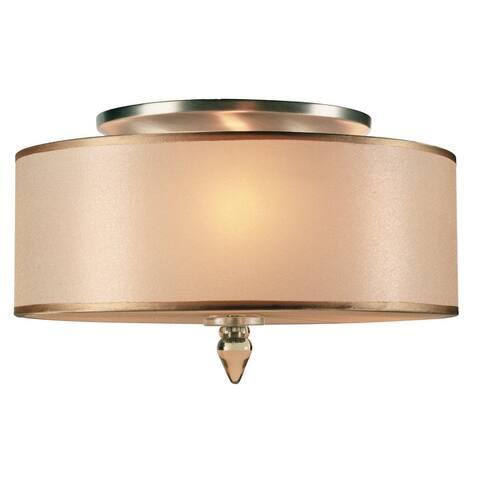 Luxo 3 Light Drum Shade Brass Flush Mount - 14'' W x 8.5'' H