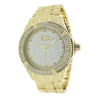 Gold Tone Mens Watch Simulated Diamonds Hip Hop Bling Ice Master Steel Back
