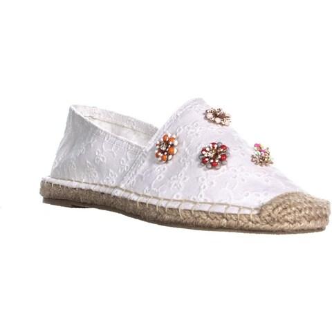 madden girl Elliss Slip On Espadrilles Loafers, White Fabric - 7.5 us