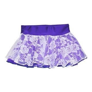 Girls Purple White Floral Rose Lace Overlay Dancewear Skirt
