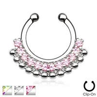 Paved Gem Fan Non-Piercing Septum Hanger (Sold Individually)