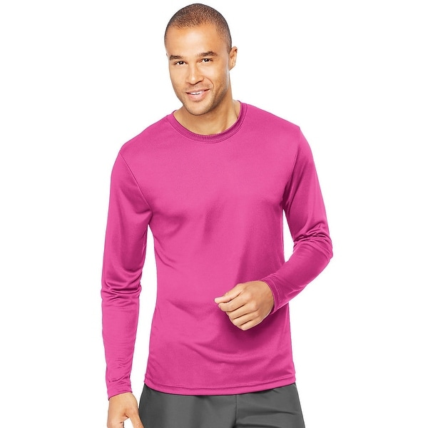 Shop Hanes Cool DRI® Performance Men s Long-Sleeve T-Shirt - Size - XS -  Color - Wow Pink - Free Shipping On Orders Over  45 - Overstock - 13858556 4c471c5aca7