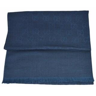 "Gucci 362654 Wool Silk Blend Denim Blue GG Guccissima Large Muffler Scarf - 78"" x 28"""