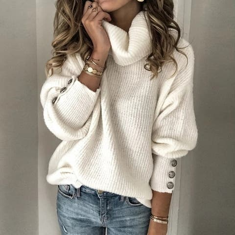 Women's Oversized Turtleneck Chunky Pullover Sweaters Cowl Neck Long Sleeve Winter Slouchy Loose Knit Sweaters