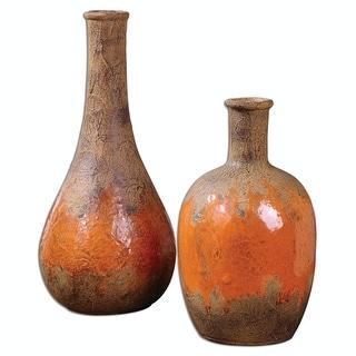 "Set of 2 Tibetan Inspired Rustic Brown and Orange Ceramic Flower Vases 12"""