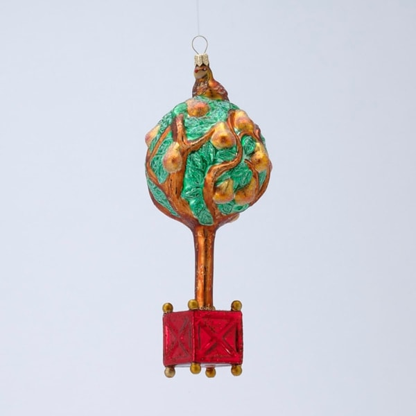 """7"""" David Strand Designs Glass Partridge in a Pear Tree Christmas Ornament - green"""