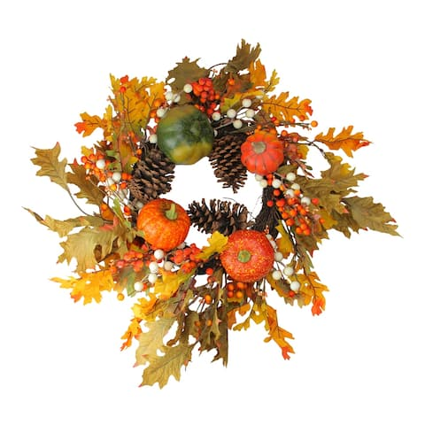 Orange Fallen Leaves with Pine Cones and Pumpkins Artificial Thanksgiving Wreath
