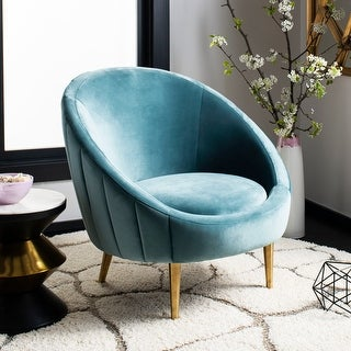 "Link to Safavieh Couture Razia Channel Tufted Tub Chair- Seafoam / Gold - 32.1""x30.3""x31.5"" Similar Items in Accent Chairs"