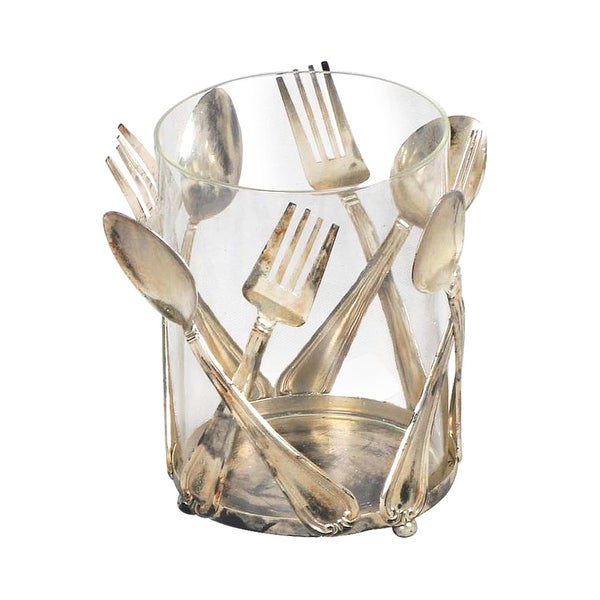Elk Home 51-0206 Glass and Metal Utensil Holder - Old Silver