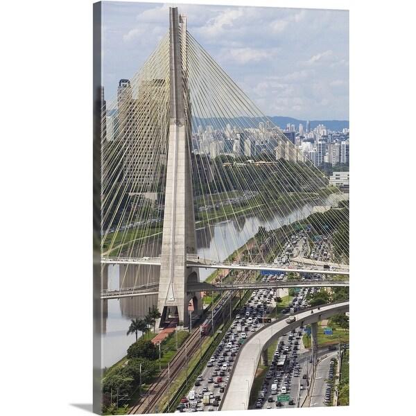 """Ponte Estaiada and Pinheiros River, Sao Paulo, Brazil"" Canvas Wall Art"