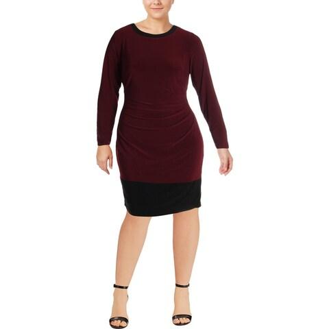 Lauren Ralph Lauren Womens Plus Wear to Work Dress Colorblocked Knee-Length