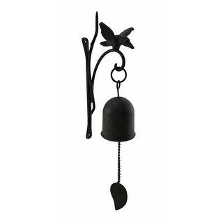 Aged Finish Cast Iron Decorative Hanging Hummingbird Bell