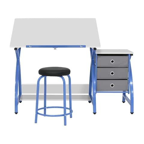 Offex 2 Pc Venus Craft Table with Angle Adjustable Top & Stool - Blue