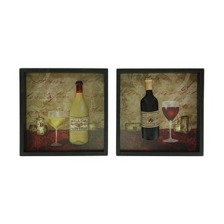 Red and White Wine and Cork Wood Shadowbox Wall Hanging Set of 2