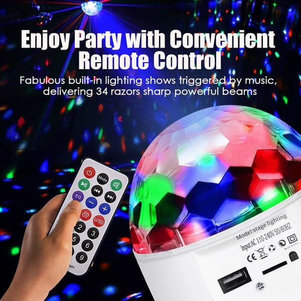 Shop Costway 10W MP3 RGB 48 LED Crystal Magic Ball Stage Light Digital  Disco DJ KTV Party - Overstock - 20578234